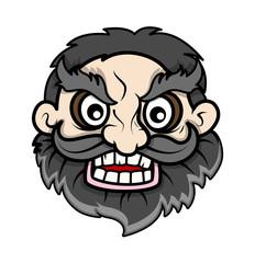 Evil Beard Face - Vector Cartoon Illustration