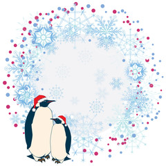 New Year frame with penguins