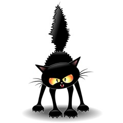 Funny Fierce Black Cat Cartoon-Gatto Buffo Feroce
