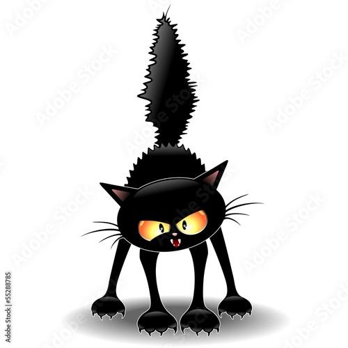 Funny fierce black cat cartoon gatto buffo feroce for Scarica clipart