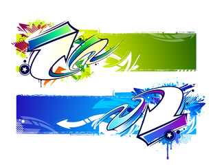 Two abstract graffiti banners
