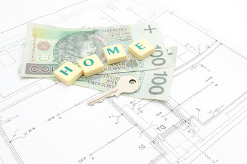 """Money, key and word """"home"""" on the housing plan"""