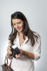 woman searching in her purse