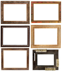 set of six vintage frames isolated on white background