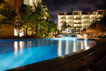 Swimming pool at caribbean resort.