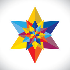 abstract colorful multiple stars arranged together- vector graph