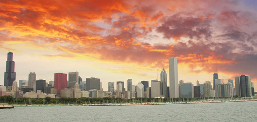Chicago Skyline with Skyscrapers and Lake Michigan - View from L
