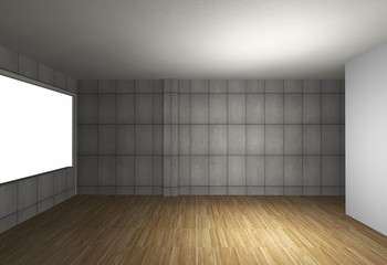 Empty room with bare concrete wall and wood floor