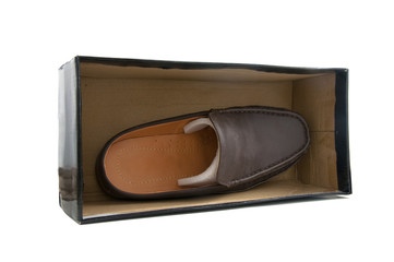 one brown male shoes in box on white