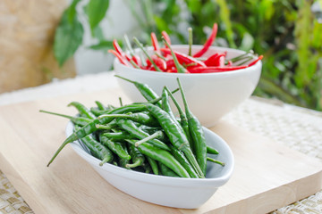 Green and red pepper isolated