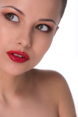 Beauty with red lips. Beautiful young woman with red lips lookin