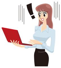 ノートパソコンをみて困る女性