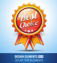 Vector best choice label for design. Glossy icon