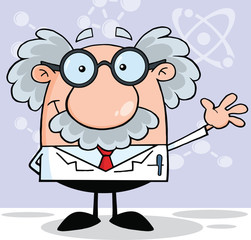Funny Scientist Or Professor Smiling And Waving