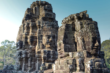 An ancient king face of temple in angkor thom