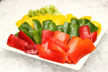 Wall Mural - Green, red and yellow peppers