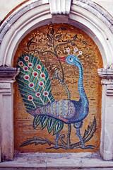 mosaic  of Peafowl in monastery on Zakynthos island, Greece