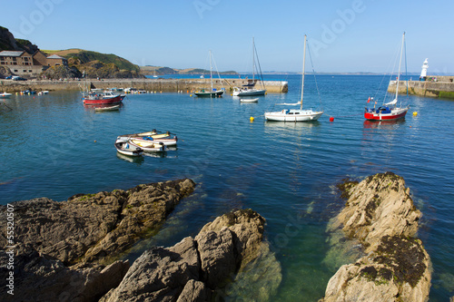 Fototapete Mevagissey fishing village boats and harbour Cornwall