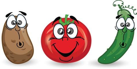 Мультфильм картофеля, томатов и огурцов