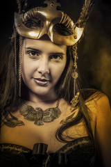 Sensual Queen, young with golden mask, ancient goddess