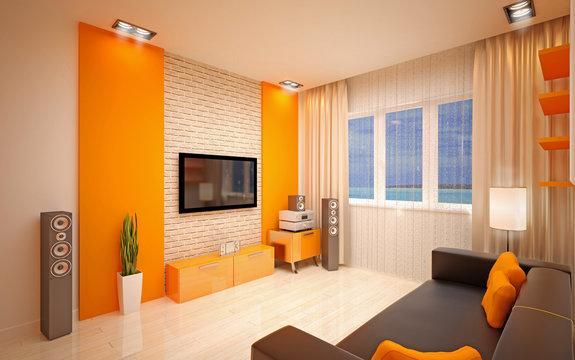 Modern living room bright orange shades