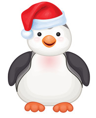 Vector of cute penguin in red Santa's hat isolated.