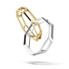 abstract gold and silver wedding rings