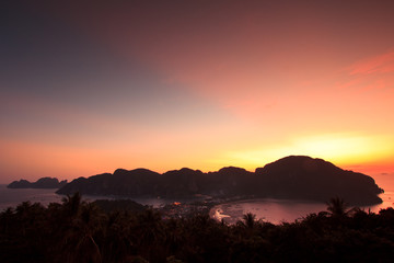 Sunset at Phi Phi Island in Krabi province of Thailand