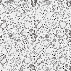 seamless animal dancing pattern