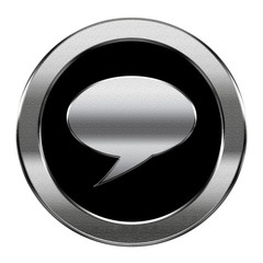 Chat icon silver, isolated on white background.