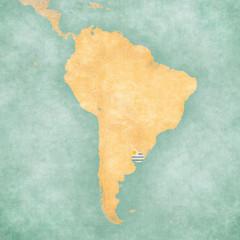 Map of South America - Uruguay (Vintage Series)