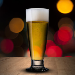 Beer on wood table