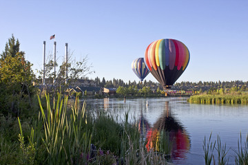 Rainbow hot air balloon in The Old Mill district, Bend, Oregon