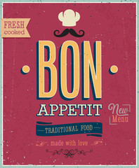 Wall Mural - Vintage Bon Appetit Poster. Vector illustration.
