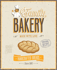 Wall Mural - Vintage Bakery Poster. Vector illustration.