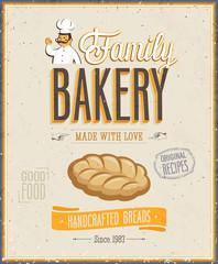 Wall Mural - Vintage Bakery Poster. Vector illustration.