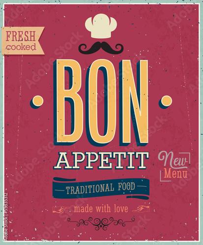 Wall mural Vintage Bon Appetit Poster. Vector illustration.