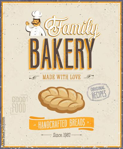Wall mural Vintage Bakery Poster. Vector illustration.