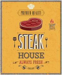 Wall Mural - Vintage Steak House Poster. Vector illustration.