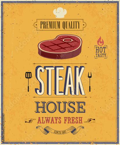 Wall mural Vintage Steak House Poster. Vector illustration.