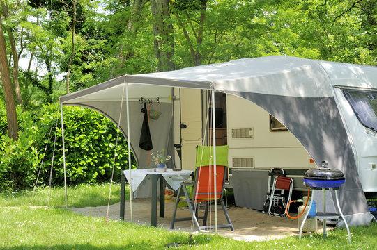 Caravan at a camp site