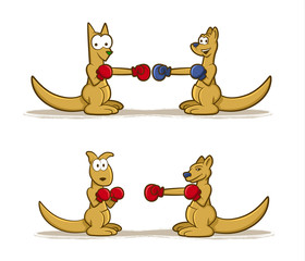 Collection of Kangaroo cartoons wearing boxing gloves