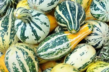 Texture of green yellow striped pumpkins