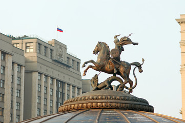 Saint George - emblem of Moscow, building of State Duma