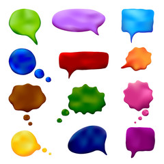 Vector plasticine set of multicolored speech and thought bubbles