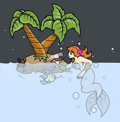 Mermaid Wondering on Tropical Island - Vector Illustration