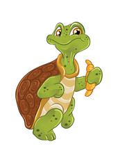 vector funny cartoon turtle croissant