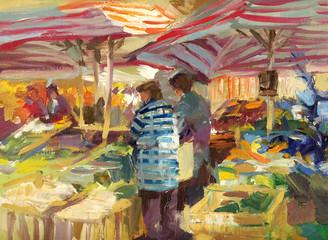 wochenmarkt  malerei ölfarben