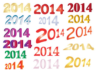 set of new year 2014 numbers over white