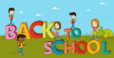Education back to school kids cartoon.